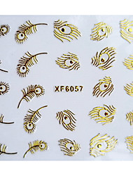 3D Phenix Fjer Design stempling Nail Art Stickers XF Series