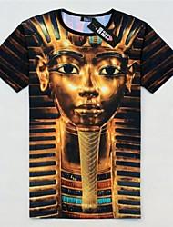 T-shirt Uomo Casual Con stampe Cotone Manica corta-Multicolore