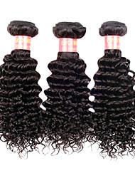 Недорогие -14 16 18 дюймы Великие 5А бразильские Девы человеческих волос Природа Черный цвет Kinky Фигурные Наращивание волос
