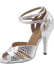 Недорогие -Жен. Обувь для латины Дерматин На каблуках Каблуки на заказ Персонализируемая Танцевальная обувь Серебро