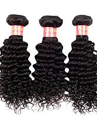 Недорогие -14 16 18 20 дюймы Великие 5А бразильские Девы человеческих волос Природа Черный цвет Kinky Фигурные Наращивание волос