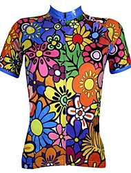cheap -ILPALADINO Women's Short Sleeves Cycling Jersey - Rainbow Floral / Botanical Bike Jersey, Quick Dry, Ultraviolet Resistant, Breathable