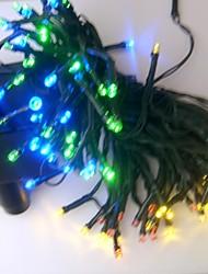 Недорогие -17m 100 leds перезаряжаемые / декоративные для наружного / сада pvc рождественские украшения строки огни белый / радуга