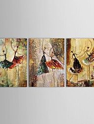 Hand-Painted People Three Panels Canvas Oil Painting For Home Decoration