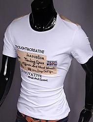 T-shirt Uomo Casual Con stampe Cotone Manica corta-Nero / Arancione / Bianco