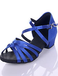 Women's Kids' Latin Ballroom Satin Sandal Low Heel Leopard Black Royal Blue Non Customizable