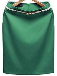 cheap -Women's Work Bodycon Skirts - Color Block, Modern Style