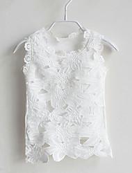 billige -T-shirt Jacquard Vævning, Bomuld Sommer Uden ærmer Hvid