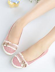 abordables -Femme Chaussures Coton Printemps Eté Ballerine Confort Talon Plat pour Bureau et carrière Habillé Noir Rouge Beige