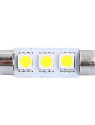 cheap -39mm 0.6W 50LM 6000K 3x5050 SMD White LED for Car Reading/License Plate/Door Lamp (DC12V, 1Pcs)