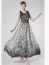 baratos -Mulheres Para Noite balanço Médio Vestido, Estampado Decote U Sem Manga