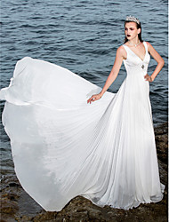 A-Line V-neck Sweep / Brush Train Chiffon Satin Wedding Dress with Beading Appliques Draped by LAN TING BRIDE®