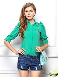Camicia Da donna Casual Semplice Primavera / Estate / Autunno,Tinta unita Colletto Rosa / Verde Manica lunga Sottile