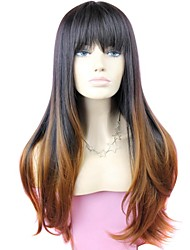 Donna Parrucche sintetiche Lungo #1B/30 Capelli schiariti Radici scure Con frangia Parrucca di Halloween Parrucca di carnevale costumi