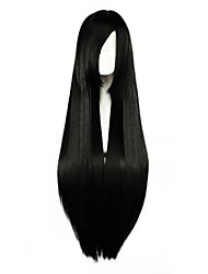cheap -80cm long straight black cosplay costume wig side band