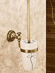 cheap -1pc Removable Antique Brass Ceramic Toilet Brush Holder