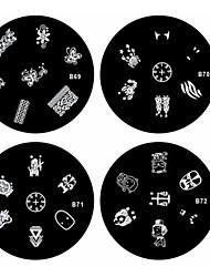Недорогие -1шт ногтей штамп штамповка изображения шаблон пластины б серии No.69-72 (ассорти шаблон)