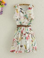 mousseline de soie mini-robe d'impression floral des femmes