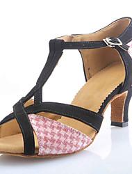 Индивидуальные женские замшевые И искрение Блеск Танцевальная обувь для Латинской / Бальные Сандалии