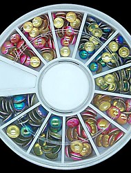 180PCS Mixed Colour and Size 3D Rock Round Metal Studs Wheel Nail Art Decoration