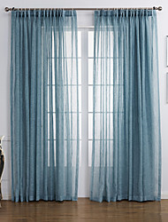 Two Panels Curtain Modern , Solid Living Room Linen/Polyester Blend Material Sheer Curtains Shades Home Decoration For Window