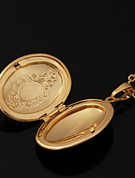 baratos -Colares com Pendentes / Colar dos Lockets - Banhado a Ouro 18K, Chapeado Dourado Dourado Colar Jóias Para Casamento