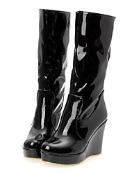 cheap -Women's Fall Winter Fashion Boots Leatherette Office & Career Dress Party & Evening Wedge Heel Black Pink White