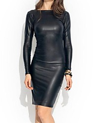 cheap -Women's Bodycon Dress - Solid, Sexy Boat Neck