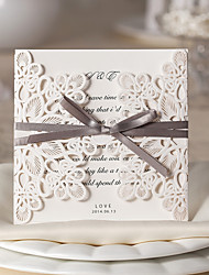 "cheap -Gate-Fold Wedding Invitations 10-Invitation Cards Floral Style Card Paper 6""×6"" (15*15cm) Bows Ribbons"