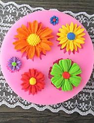 moule de gâteau de fondant de moule de six tournesol, moule de gâteau de l7.1cm * w7.1cm * h1cm, outil de traitement au four