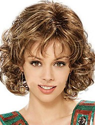 cheap -fashion lady short brown blonde mixed curly cosplay full wigs