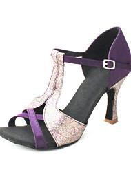 cheap -Women's Latin Shoes / Ballroom Shoes / Salsa Shoes Satin Sandal Sparkling Glitter / Buckle Customized Heel Customizable Dance Shoes Yellow / Purple / Khaki