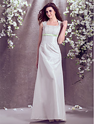 cheap -A-Line Square Neck Floor Length Taffeta Custom Wedding Dresses with Lace Sash / Ribbon by LAN TING BRIDE®