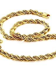 Homens Colares em Corrente Jóias Chapeado Dourado 18K ouro Original Moda Dourado Jóias ParaCasamento Festa Diário Casual Presentes de