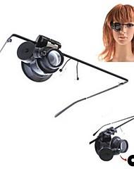 economico -Eyewear Style singolo 20X Lente di ingrandimento con luce bianca LED (2 x CR1620)