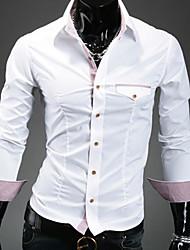 Недорогие -лацкан шеи цветовой контраст оболочка рубашка  мужской
