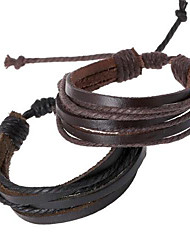 cheap -Leather Bracelet  Fashion Simple Style Bracelet Hemp Rope Braided Leather Chain Unisex Cuff Bracelets Couple Bracelet Jewelry Gifts