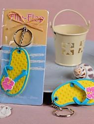 """Flip Flop"" Tropical Flower Key Ring"