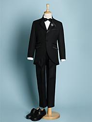 Недорогие -Цвет слоновой кости Черный Полиэстер Детский праздничный костюм - 5 Включает в себя Куртка Брюки Широкий пояс Бабочка Рубашка