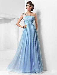 A-Line Princess One Shoulder Floor Length Chiffon Tulle Prom Dress with Beading by TS Couture®