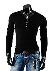 lesen v moda pescoço fino botões dos homens casuais decoração escovado manga longa malha o