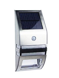 cheap -2-LED White Stainless Steel Solar Wall Light With PIR Motion Sensor