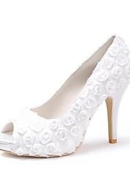 Недорогие -Жен. Обувь Сатин Весна Лето На шпильке Платформа Цветы из сатина для Свадьба Слоновой кости Черный Белый Красный