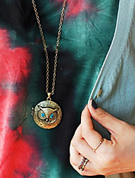 economico -collana pendente bronzo vintage a forma di gufo (1 pz) stile femminile classico