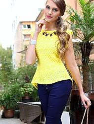 billige -Dame-Ensfarvet Afslappet Bluse