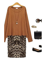 Women's Casual/Daily Plus Size Dress,Leopard Knee-length Long Sleeve Black / Brown All Seasons