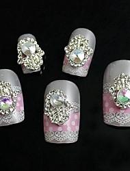 10pcs strass palma con perla accessori in lega 3d nail art decorazione