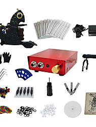 abordables -1 Gun Complete No Ink Tattoo Kit with Dark Steel Tattoo Machine and Aluminum alloy Power Supply