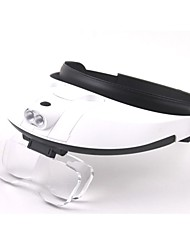 cheap -Multiple Lens Two-way Regulation Head-Wearing Magnifier with 2-LED Light (3 x AAA)