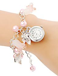 Mulheres Relógio de Moda Bracele Relógio Quartzo Banda Pérolas Rosa Rosa claro